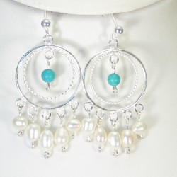 Sterling silver, pearl and Turquoise earrings.