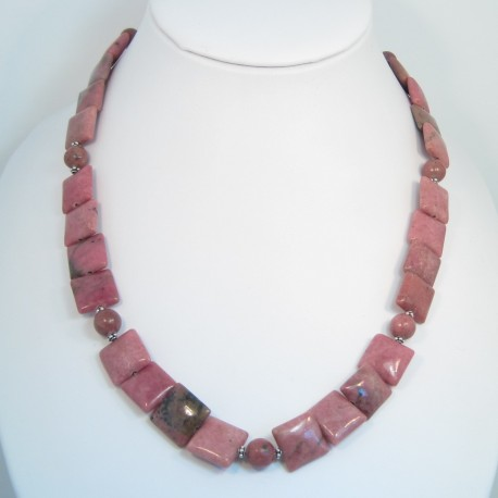 Rhodonite and Silver Necklace