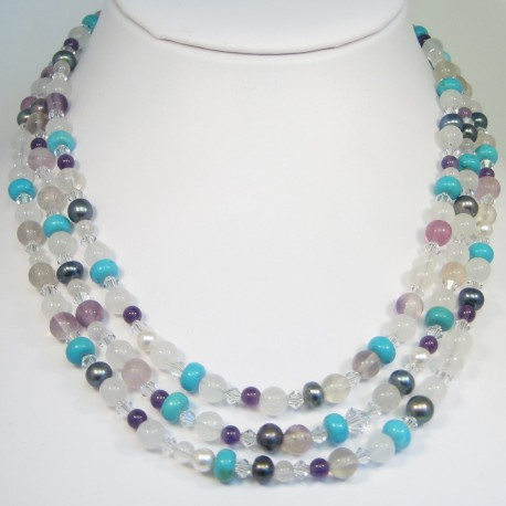 Multi Stone Strand Necklace