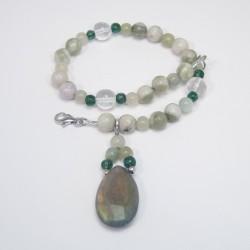 Peace Jade, crystal and Labradorite Bracelet.