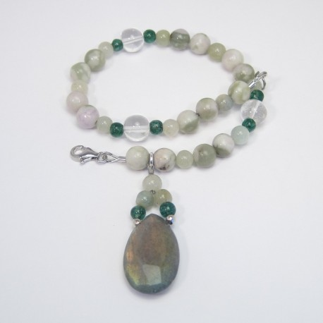 Peace Jade, crystal and Labradorite Bracelet.