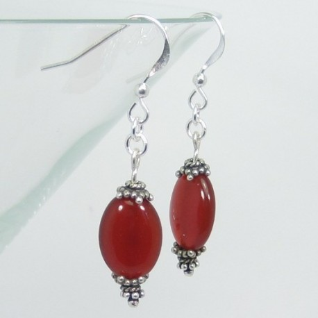 Carnelian and Silver Earrings.