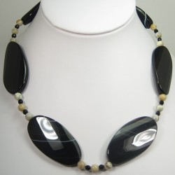 Sardonyx Onyx and Agate Necklace