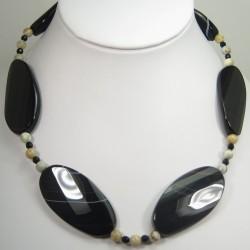 Sardonyx Onyx and Agate Necklace