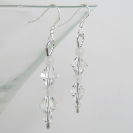 Swarovski Crystal and White Jade Earrings