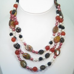 Multi gemstone long necklace