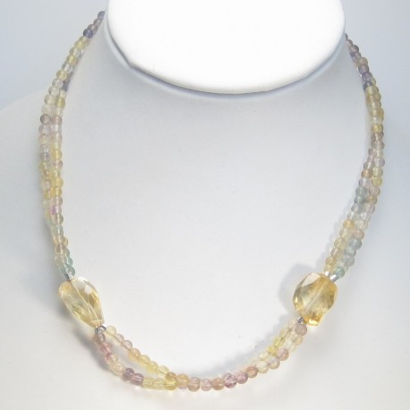 Citrine and Fluorite Necklace.