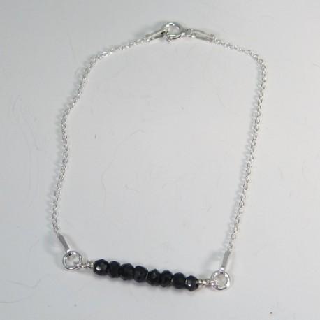 Black Spinel and Sterling Silver Bracelet