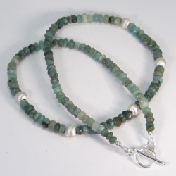 Genuine Emerald and Sterling Silver Necklace